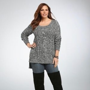 Torrid Marled Knit Cable High-Low Sweater
